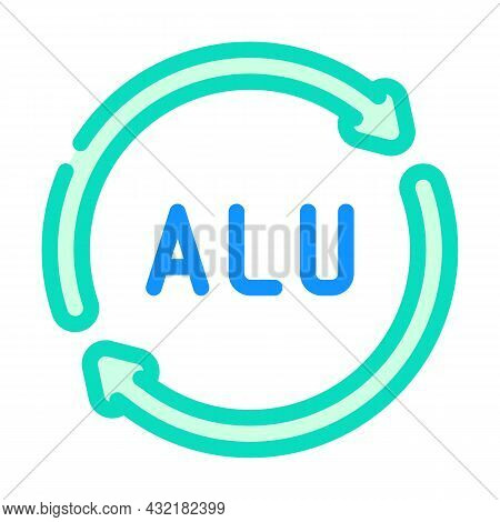 Aluminum Recycling Package Color Icon Vector. Aluminum Recycling Package Sign. Isolated Symbol Illus
