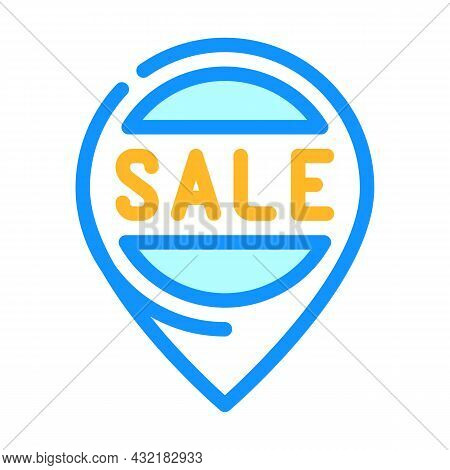 Location Sale Color Icon Vector. Location Sale Sign. Isolated Symbol Illustration