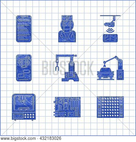 Set Assembly Line, Printed Circuit Pcb, Industrial Machine Robotic Robot Arm Hand, 3d Printer, Bot,