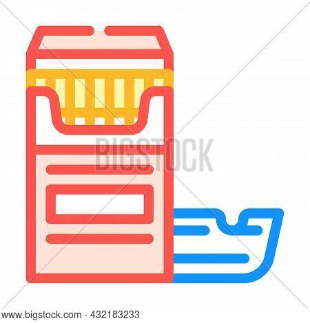 Cigarettes And Ash Tray Color Icon Vector. Cigarettes And Ash Tray Sign. Isolated Symbol Illustratio