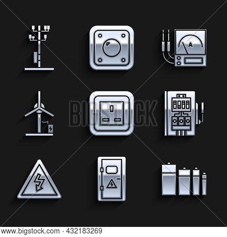 Set Electrical Outlet, Cabinet, Battery, Panel, High Voltage Sign, Wind Turbine, Ampere Meter, Multi