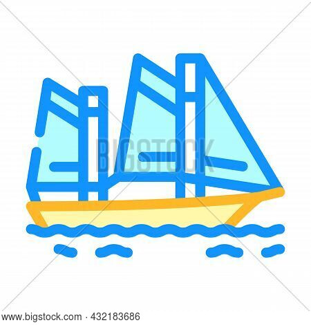Sailing Water Sport Color Icon Vector. Sailing Water Sport Sign. Isolated Symbol Illustration