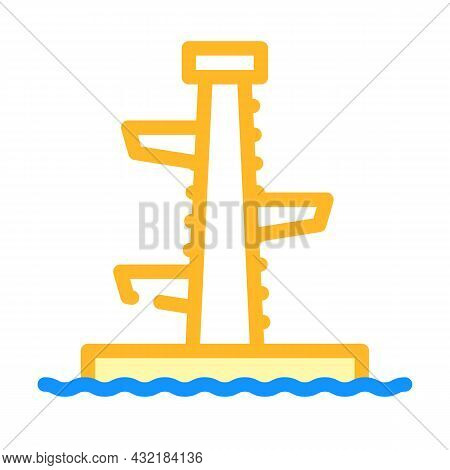 Jumping Tower Color Icon Vector. Jumping Tower Sign. Isolated Symbol Illustration