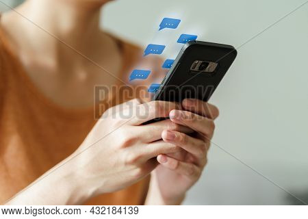 Young Asian Woman Using Smartphone Typing, Chatting Conversation. Social Network, Technology Concept