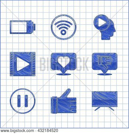 Set Like And Heart, Hand Like, Smart Tv, Dislike In Speech Bubble, Pause Button, Play Video, Head Pe
