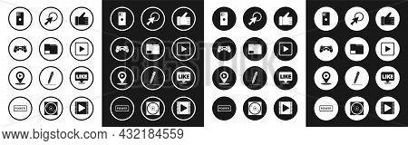 Set Hand Like, Document Folder, Gamepad, Smartphone, Mobile Phone, Play In Square, Arrow Cursor, Lik