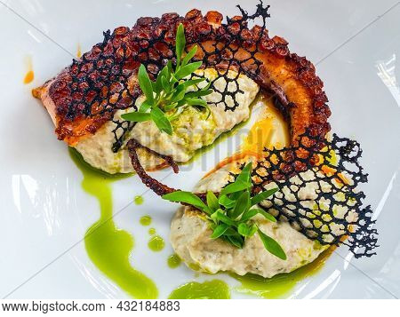 Grilled octopus with mash and cuttlefish ink lace in a plate at a restaurant