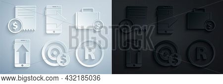 Set Target With Dollar Symbol, Briefcase And Money, Smartphone, Mobile Phone, Registered Trademark,