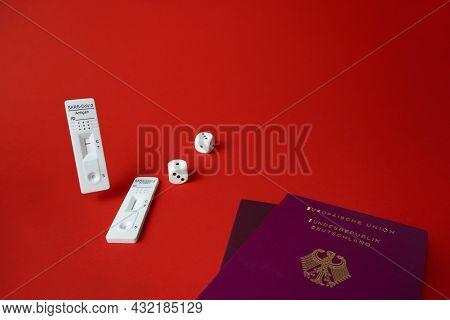 Rapid Sars-cov-2 Antigen Test, Negative Result, Unused, Dice On Red, Pair Of German Tourist Passport
