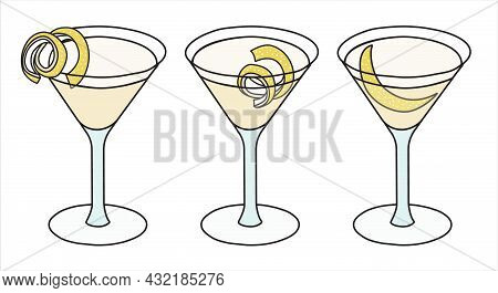 Vesper Or Corpse Reviver Classic Iba Listed Cocktail In Highball Glass. A Collection Set Of Three Gi