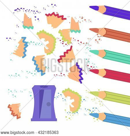 Colored Pencils, Sharpener And Shavings. Simple Vector Illustration About School.