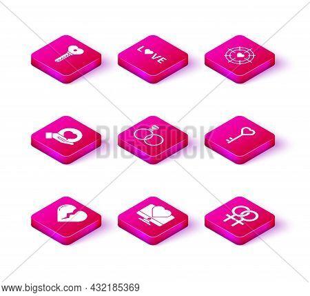 Set Broken Heart Or Divorce, Computer Monitor With, Heart Hand, Wedding Rings, Female Gender Symbol,