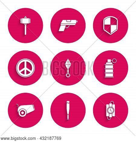 Set Japanese Ninja Shuriken, Baseball Bat, Dynamite Stick And Timer Clock, Hand Grenade, Cannon, Pea