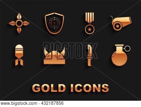 Set Viking In Horned Helmet, Cannon, Hand Grenade, Military Knife, Aviation Bomb, Reward Medal, Japa
