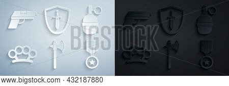 Set Medieval Axe, Hand Grenade, Brass Knuckles, Military Reward Medal, Shield With Sword And Pistol