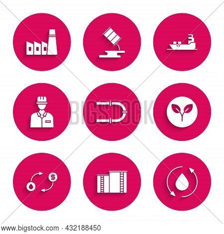 Set Industry Pipe, Oil Industrial Factory Building, Drop, Bio Fuel, Exchange, Oilman, Tanker Ship An