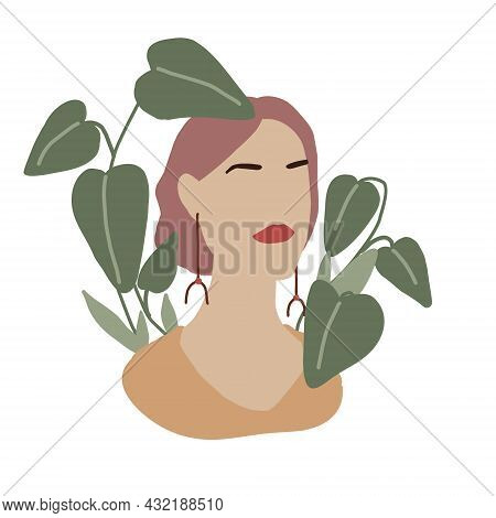Abstract Woman In Minimal Style. Modern Fashion Female Faceless Portrait. Girl In Green Leaves And P