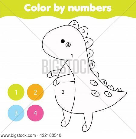 Dino Toy. Coloring Page For Kids. Educational Children Game. Color By Numbers Activity For Toddlers
