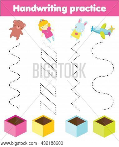Put Toys In Box. Handwriting Practice Sheet. Christmas And New Year Activity For Kids. Educational C