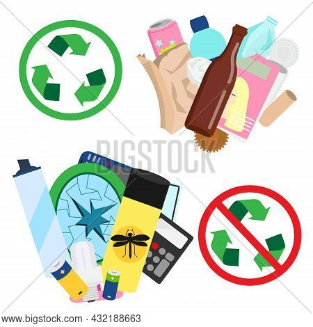 Recyclable And Non Recyclable Waste Sorting. Types Of Trash And Garbage With Recycling Sign.
