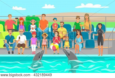 Couple Of Dolphins Is Performing In Dolphinarium. Dolphins Play With Ball, Do Tricks For Spectators.