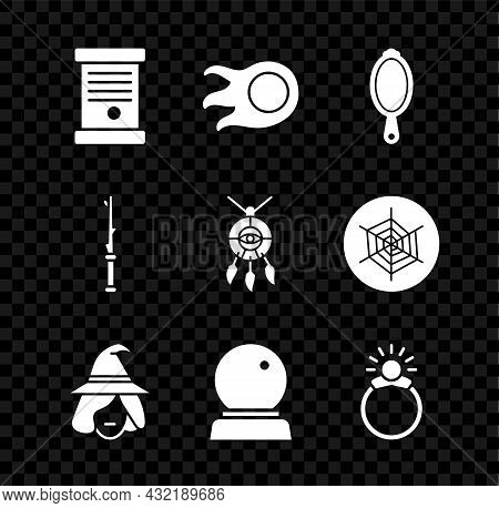 Set Decree, Paper, Parchment, Scroll, Fireball, Magic Hand Mirror, Witch, Stone Ring With Gem, Wand