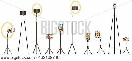 People Broadcasting, Video Blog, Stream On Smartphone. Live Streaming Vector Illustration. Online Pr