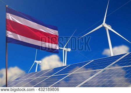 Costa Rica Renewable Energy, Wind And Solar Energy Concept With Wind Turbines And Solar Panels - Alt