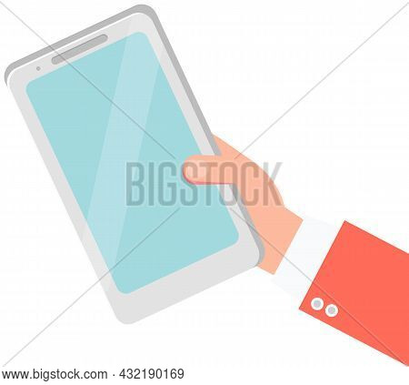 Human Hand Holding Smartphone Blue With Touchscreen, Chatting Sms, Application For Communications Te