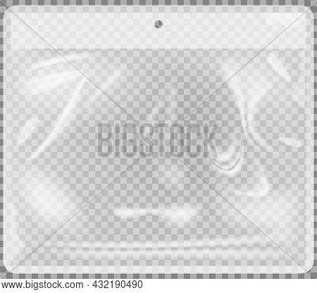 Transparent Plastic Bag Vector Illlustration. Stretched Glossy Polyethylene Mockup. Plastic Packagin