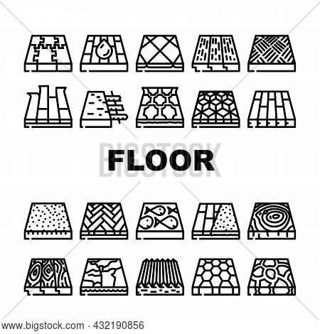 Floor Material Layers Renovation Icons Set Vector. Tile And Parquet, Stone And Wooden Floor Material