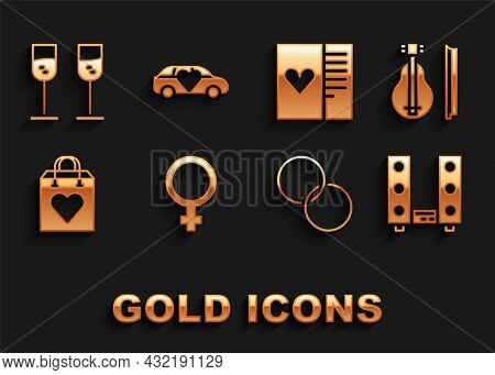 Set Female Gender Symbol, Violin, Home Stereo With Two Speakers, Wedding Rings, Shopping Bag Heart,