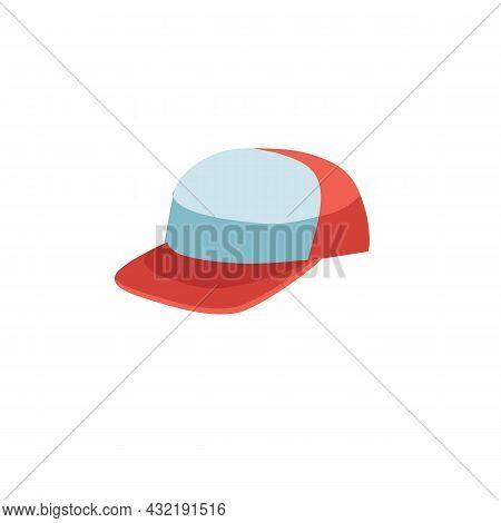 Vector Cartoon Flat Fashionable Baseball Cap.new Trendy Beautiful Accessory Hat Isolated On Empty Ba