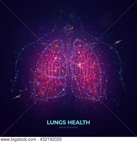 Glowing Human Lungs Vector Illustration Made Of Neon Particles. Bright Magic Lungs Health Concept Ar