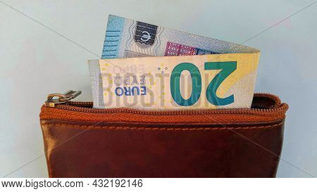 Twenty Euros In My Wallet. Brown Wallet. A Paper Banknote. Money And Business. Expenses And Purchase