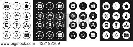 Set Gift Box, Orthodox Jewish Hat, Shield With Star Of David, Jewish Calendar, Wine Bottle, Necklace