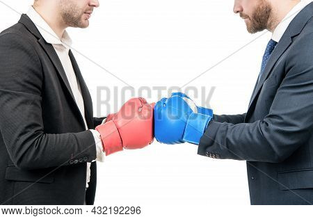 Contact. Fighting Men Cropped View. Businessmen Fight With Boxing Gloves. Fighting Conflict