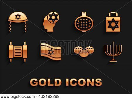 Set Flag Of Israel, Shopping Bag With Star David, Hanukkah Menorah, Jewish Sweet Bakery, Torah Scrol
