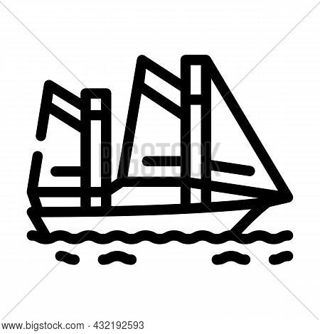 Sailing Water Sport Line Icon Vector. Sailing Water Sport Sign. Isolated Contour Symbol Black Illust