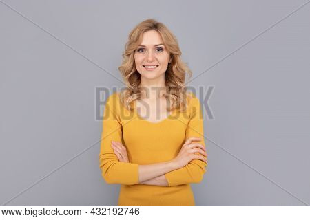 Cheerful Blonde Beauty Girl With Curly Hair, Smooth Skin