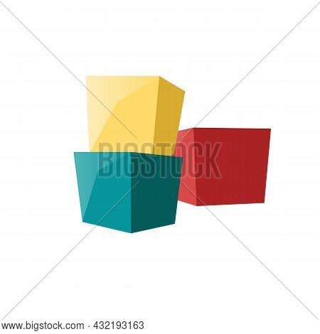 Vector Cartoon Flat Kids Toy Cube Blocks Isolated On Empty Background-healthy Family And Happy Child