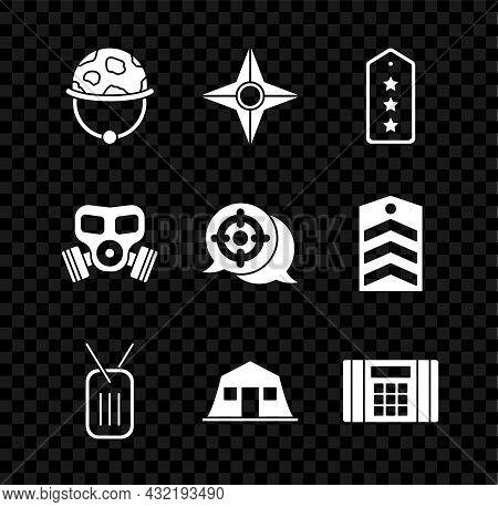 Set Military Helmet, Japanese Ninja Shuriken, Rank, Dog Tag, Barracks, Dynamite Bomb, Gas Mask And T