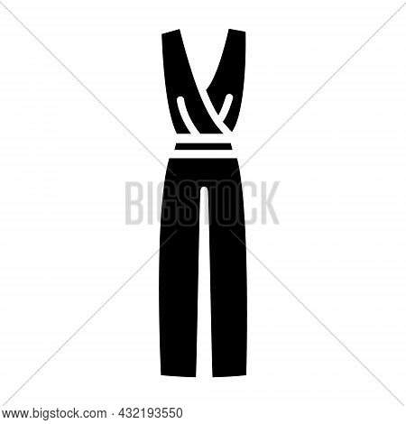 Woman Trouser Overalls Glyph Icon. Homewear And Sleepwear. Black Filled Symbol. Isolated Vector Stoc