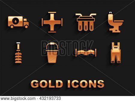 Set Bucket, Toilet Bowl, Work Overalls, Industry Metallic Pipe, Brush, Water Filter, Plumber Service