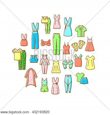 Comfortable Domestic Clothes Circle Layout. Homewear And Sleepwear. Comfy Garment. Slippers, Sleep M