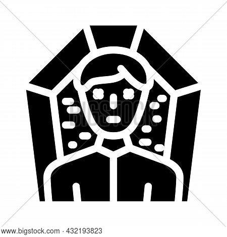 Death Man Glyph Icon Vector. Death Man Sign. Isolated Contour Symbol Black Illustration