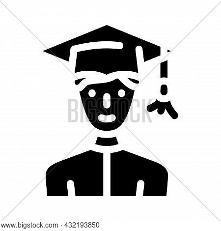 Study Male Glyph Icon Vector. Study Male Sign. Isolated Contour Symbol Black Illustration