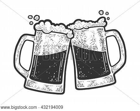Beer Clink Mug Glasses Party Sketch Engraving Vector Illustration. T-shirt Apparel Print Design. Scr