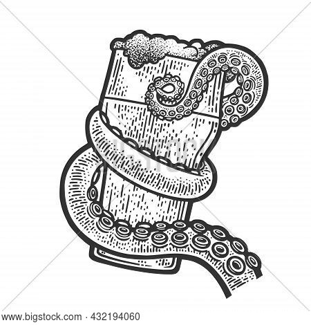 Octopus Tentacle Holding Glass Of Beer Sketch Engraving Vector Illustration. T-shirt Apparel Print D
