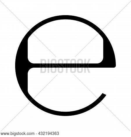 Estimated E Mark Glyph Icon Vector. Estimated E Mark Sign. Isolated Contour Symbol Black Illustratio